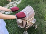 Waterproof merino gloves burgundy for a stroller