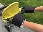 Black gloves for a stroller organic cotton