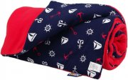 Warm baby blanket red boats | - detskedeky.cz