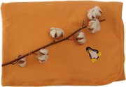 Double sided orange organic blanket with a penguin | - detskedeky.cz