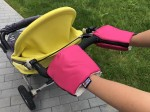Pink gloves for a stroller organic cotton