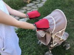 Waterproof merino gloves red for a stroller