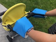 Turquoise gloves for a stroller organic cotton | - detskedeky.cz