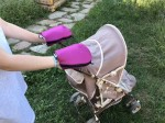 Waterproof merino gloves purple for a stroller