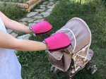 Waterproof merino gloves pink for a stroller