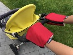 Red gloves for a stroller organic cotton