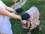 Waterproof merino gloves black for a stroller