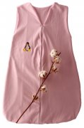 Pink Sleeping Bag Organic Cotton with Penguin 110 cm | - detskedeky.cz