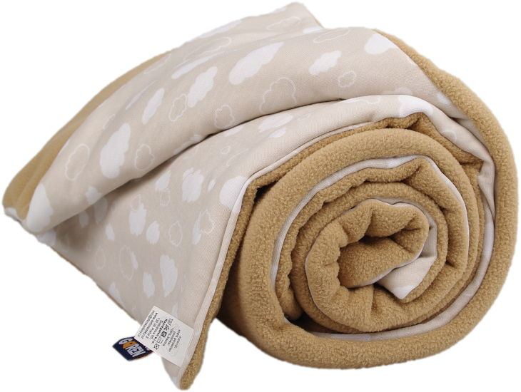 beige winter blanket with clouds