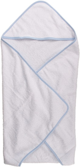 baby bath towel with blue hem