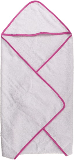 baby bath towel with pink hem