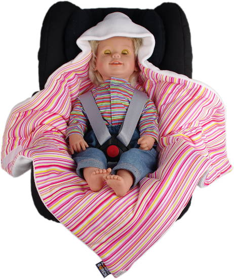 white baby wrap pink stripes open